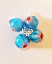 blue glass drop charms bead pendants 12mm red flower beads jewelry makin... - $2.40