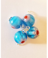 blue glass drop charms bead pendants 12mm red flower beads jewelry makin... - $2.40