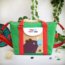 [Purple Bear Green]Shoulder Bag Travel Bag (9.6*9.3*4.1) - $18.99