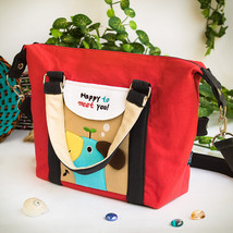 [Blue Puppy - Red] Duffle Tote Bag (9.6*9.3*4.1) - $18.99