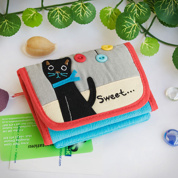Primary image for [Sweet Black Cat] Trifold Wallet Purse (4.7*3.5)