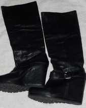 Vera Wang Lavender Black Smooth Leather Wedge KNEE HIGH Pull Up Boots 9.... - $107.91