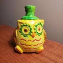 "Owl Figurine, Handpainted yellow owl, ceramic, 4.5"", bird figure image 5"