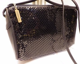 Vintage Whiting & Davis Black Metal Mesh & Leather Shoulder Bag Cross Body - $31.68