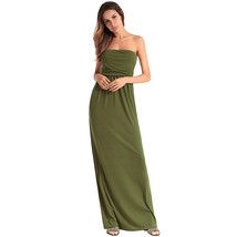AOVEI Army Green Off Shoulder Sexy Backless Night Out Party Long Beach Dress - $21.99