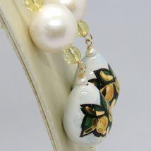 Ohrringe aus Gold Gelb 750 18K Perlen Fw und Tropf Bemalt Hand Made in Italy image 3