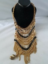 Vintage Fashion Statement Necklace Collar Gold Tone Black & Matching Ear... - $37.19