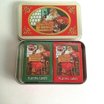 1998 Nostalgia Tin Playing Cards Coca Cola Christmas Santa New Set of 2  - $14.60