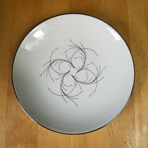 Homer Laughlin Capri Bread Plate Rhythm Shape Pink Flowers Black Stems MCM - $3.71