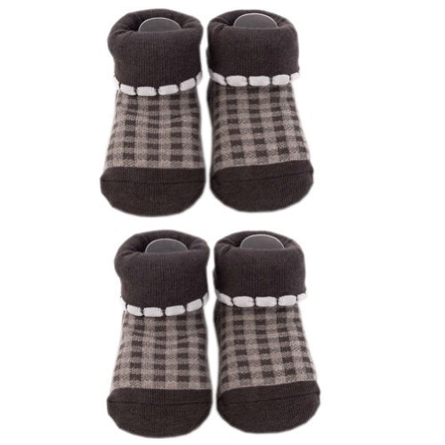 Tartan Infant Anti Skid Slip Baby Newborn Shocks Toddler Shoes 2 Pack Brown