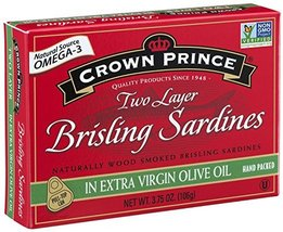 Crown Prince Two Layer Brisling Sardines in Extra Virgin Olive Oil, 3.75-Ounce C image 2