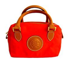 Fendi Small Tan Leather & Red Nylon Satchel / Handbag Purse - $95.00