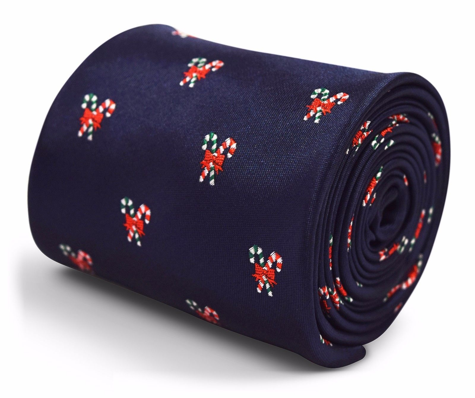 Frederick Thomas Christmas Secret Santa navy blue tie with candycane design