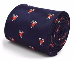 Frederick Thomas Christmas Secret Santa navy blue tie with candycane design