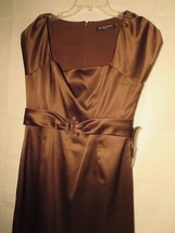 Ellen Tracy 70% OFF Women's Size 12 Dress Brown S/S Empire Waist New Wit... - $37.64