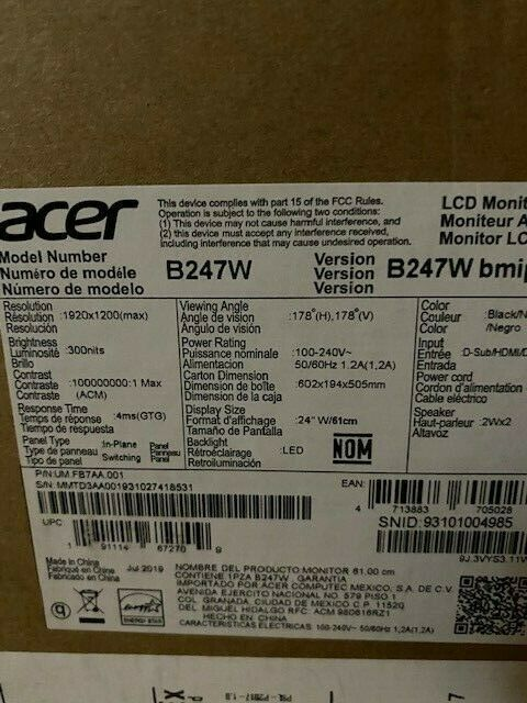 "Acer PRO Series B247W 24"" IPS LCD Computer Monitor 1920 x 1200 Widescreen - NEW"