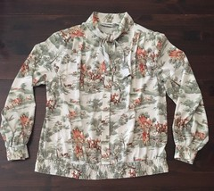Alfred Dunner sz 14 Bow Tie Career Blouse Shirt Button Down Long Sleeve ... - $28.05