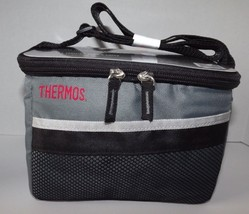 Thermos Insulated 6 Can Cooler Lunch Box Grey & Black Heat Sealed Collap... - $9.74