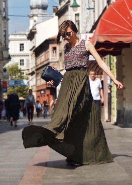 Full Skirt Length Pleated Maxi Long Women Romantic Casual Basic Vacation New
