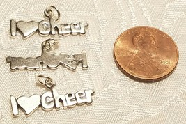 I Heart Love Cheer Cheerleader 925 Sterling Silver Charm  STAMPED .925 image 2