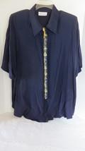 Women's Pride & Joy Dark Blue Button Down Blouse Size 24 NWT - $18.69