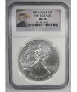 """2012 $1 American Silver Eagle """"First Release"""" NGC MS70 Eagle Label Coin ... - $70.53"""