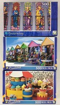 3 Puzzlebug 500pc Jigsaw Puzzles Cupcake Circus Island Beach Shops Stain... - $17.77