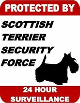 Protected by Scottish Terrier Dog Security Force 24 Hour Dog Sign SP1768 - $7.87