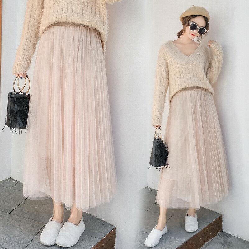 2019 Spring Summer Vintage Skirts Womens Elastic High Waist Tulle Mesh Skirt image 6