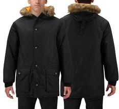 Men's Heavy Weight Insulated Winter Parka Coat Faux Fur Trim Hood Puffer Jacket