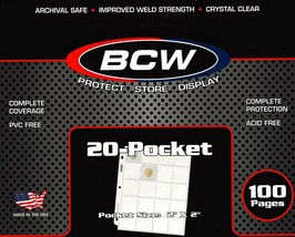 20 BCW PRO 20-POCKET PAGES FOR 2x2 CARDBOARD FLIPS SLIDES POGS COINS COUPON - $6.09