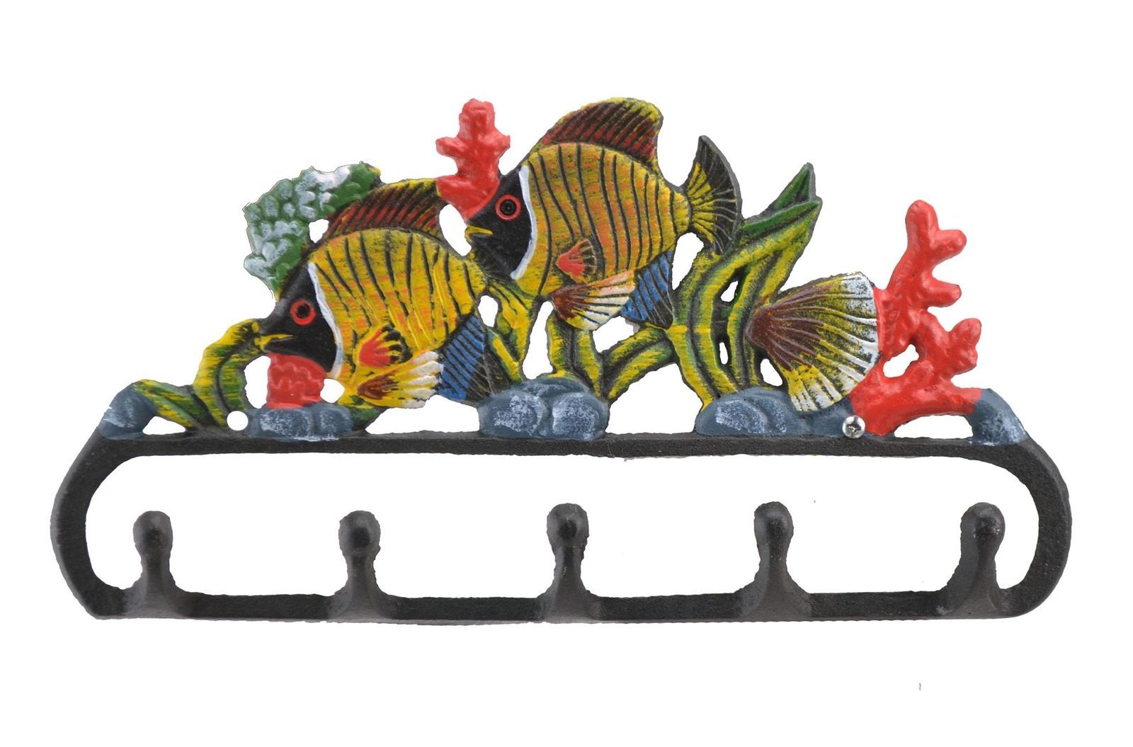 Primary image for Cast Iron Wall Hook Rack Tropical Fish & Coral Colorful Beach Decor 11.125 W N