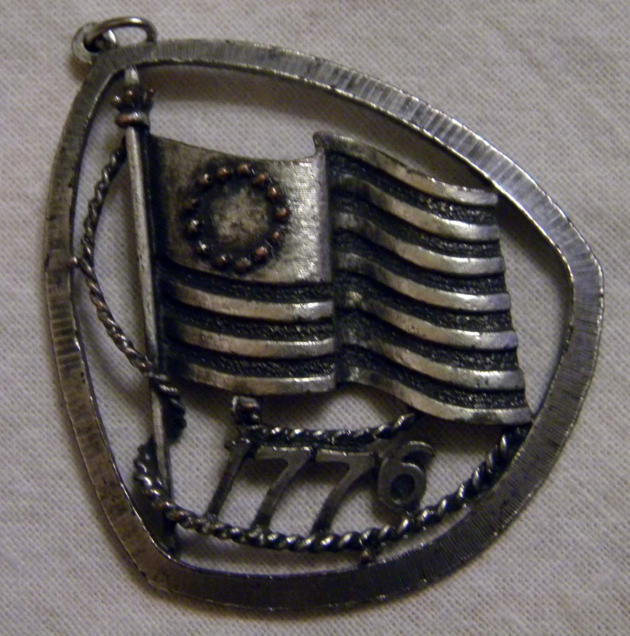 Vintage Centennial pewter pin Flag on pole with letters 1776