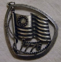 Vintage Centennial pewter pin Flag on pole with letters 1776  image 1
