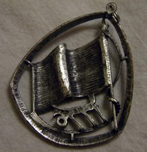Vintage Centennial pewter pin Flag on pole with letters 1776  image 2