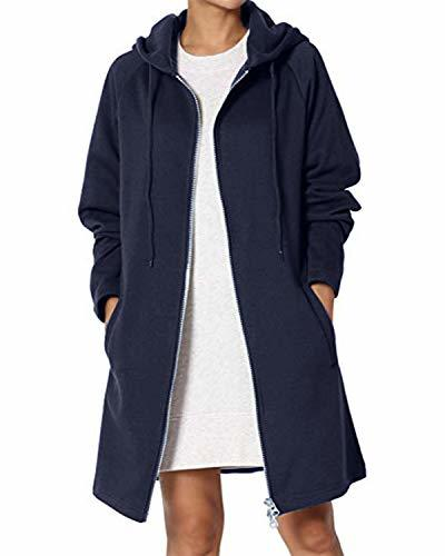 kenoce Long Zip Up Pullover Hoodie for Women Casual Loose Fit Basic Tunic Sweats