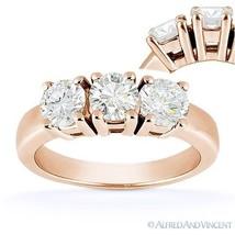 Forever Brilliant Round Cut Moissanite 3-Stone Engagement Ring in 14k Rose Gold - €732,23 EUR - €2.064,93 EUR
