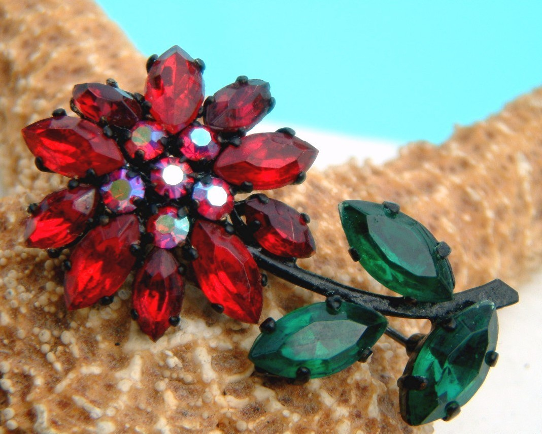 Vintage West Germany Red Green Rhinestone Flower Brooch Pin Japanned