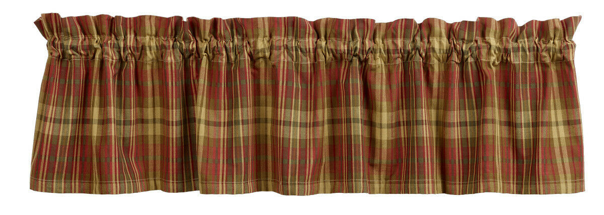 Primary image for country rustic farmhouse kitchen Cinnamon red green tan plaid VALANCE curtain