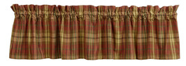 country rustic farmhouse kitchen Cinnamon red green tan plaid VALANCE curtain - $24.95