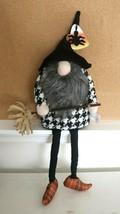 "NWT CANDY CORN LANE HALLOWEEN WITCH Gnome DOLL SHELF SITTER 24""  - $16.78"