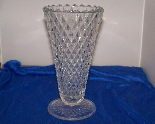 Vintage Depression Glass Diamond Cut Glass Vase Clear