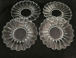 """Vintage Heisey Crystolite Clear Glass 7.25"""" Salad Plates Lot of 4 Plain Center - $18.80"""