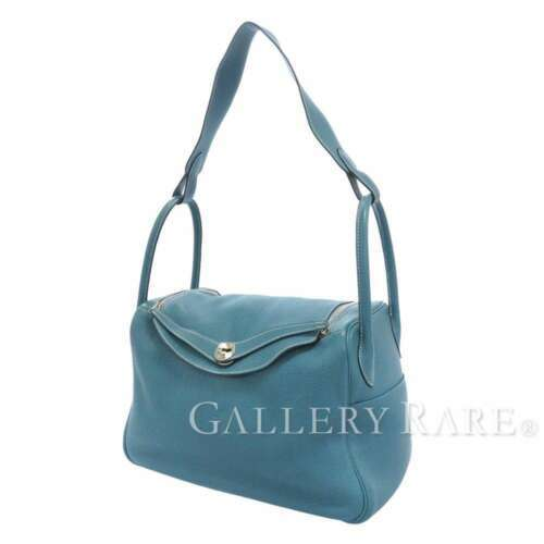 HERMES Lindy 34 Taurillon Clemence Blue Jean Handbag Shoulder Bag #Q Authentic