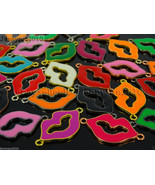 20Pcs Colorful Smooth Metal Loving Lips Bracelet Connector Charm Beads M... - $5.45