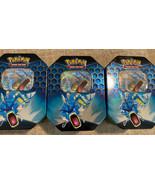 Pokemon Hidden Fates Gyarados Tins X3 Empty Plus 3 GX Full Foil Black St... - $9.89