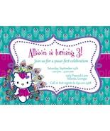 Custom Peacock Hello Kitty Birthday Invitation Printable DIY Personalized - $9.50