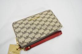 Michael Kors Jet Set Large Multi-Function Phone Case Wallet/Wristlet Natural/Red - $119.00