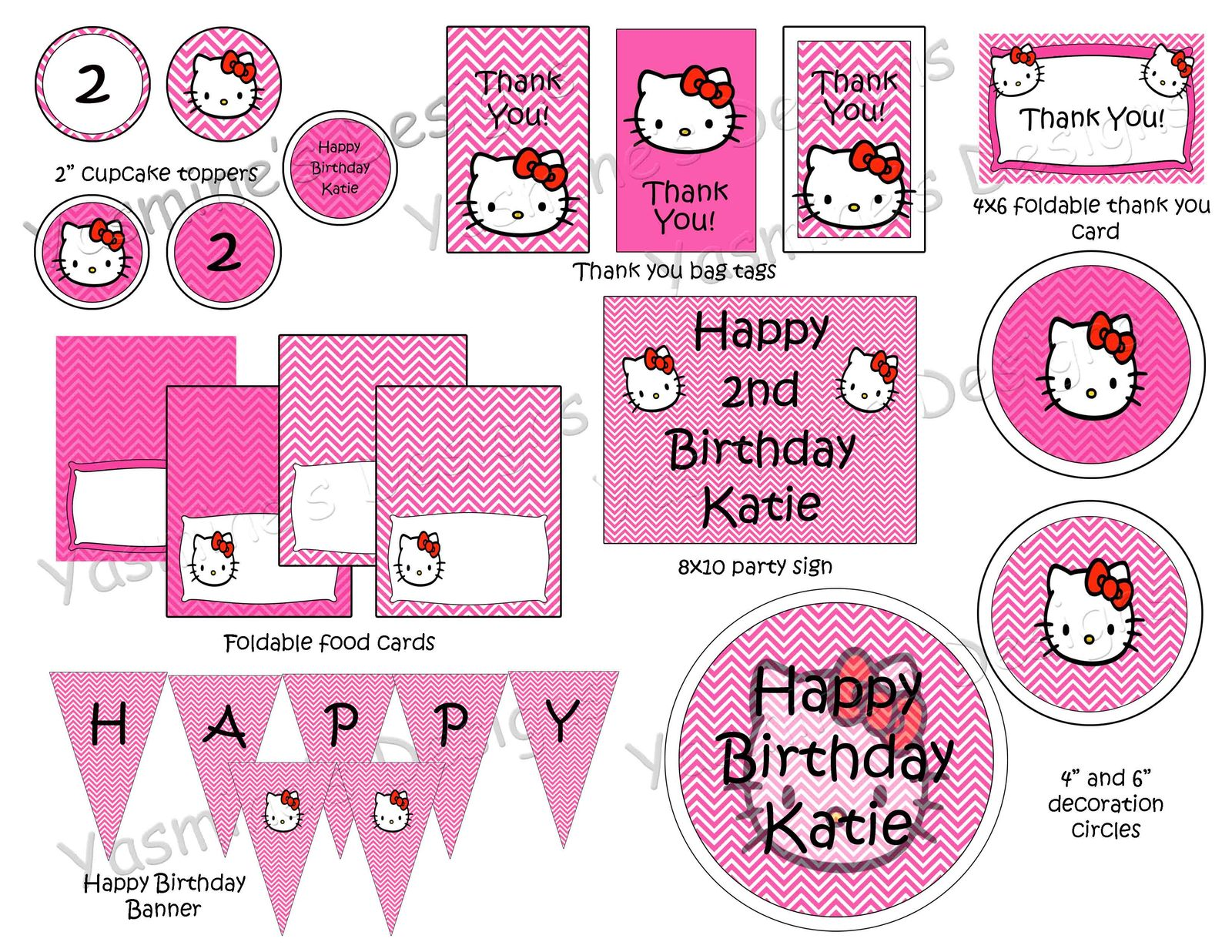 pink and white hello kitty birthday party package custom. Black Bedroom Furniture Sets. Home Design Ideas