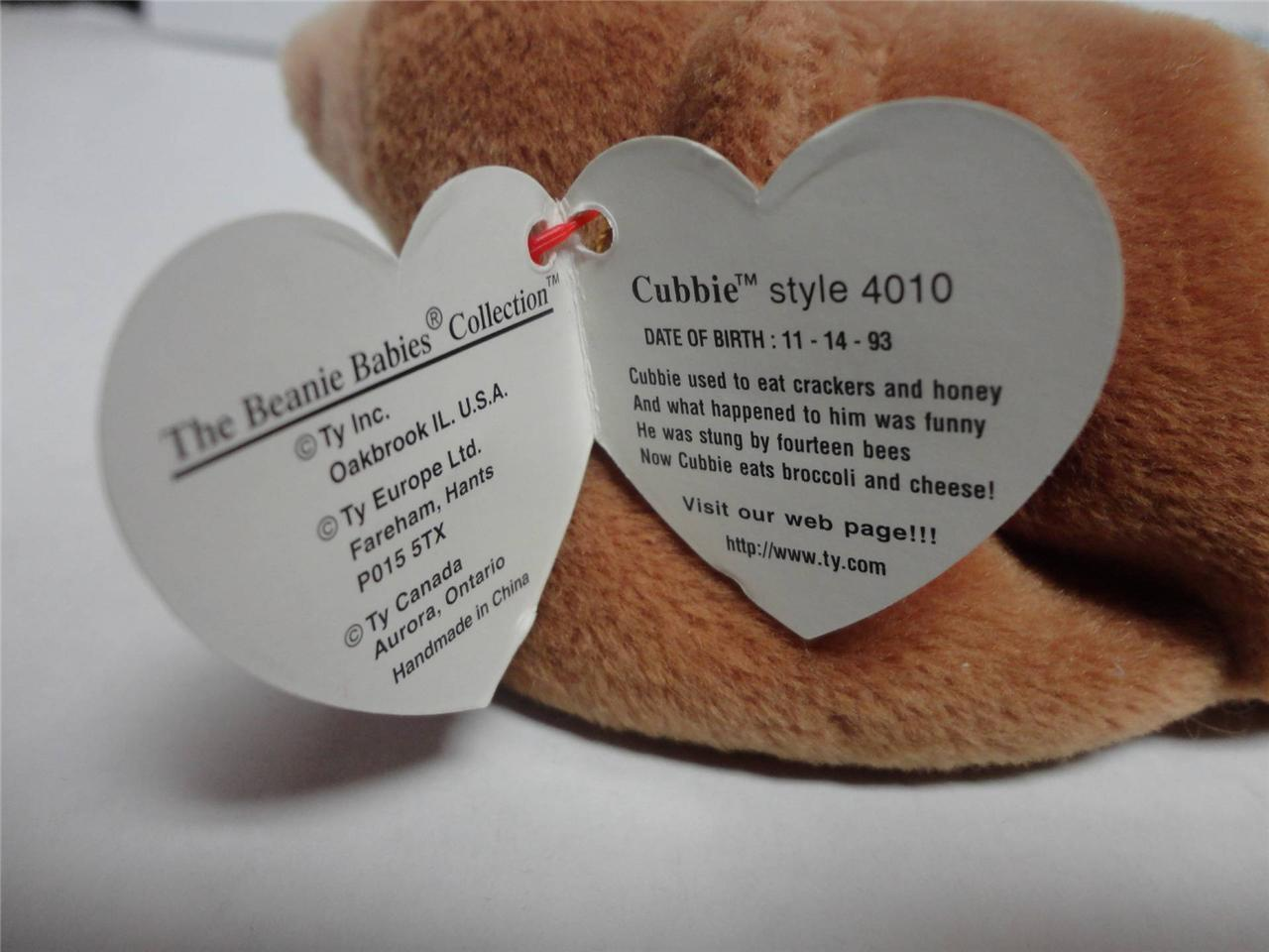 TY Beanie Baby Cubbie the Bear Style in Swing tag with PVC pellets and both tags